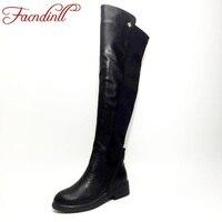 FACNDINLL Metal Decoration Black Microfiber Leather Stretch Fabric Flat Knee High Women Boots Autumn Winter Warm