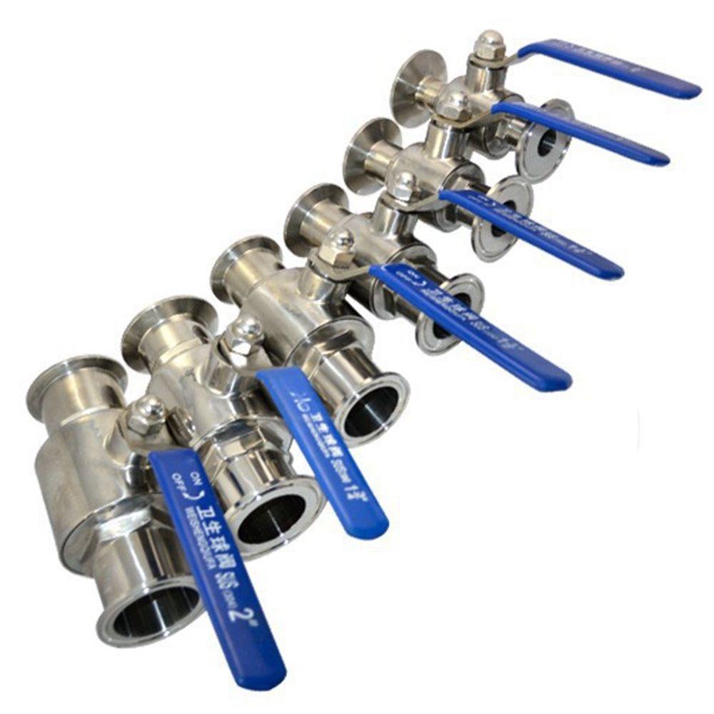 1pc 3/4 DN20 19mm Flow Pipe OD 50.5mm Ferrule OD Full Port Ball Valve Clamp Type Ferrule Stainless Steel SS304 SS316 red t knob 19mm x 19mm slip ends full port ppr ball valve