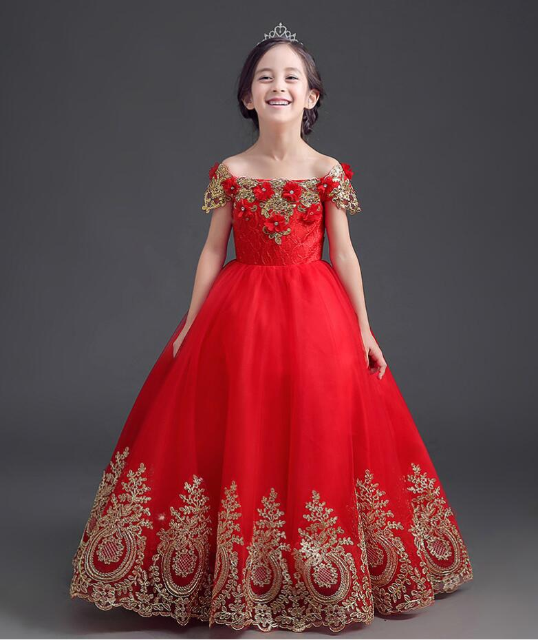 Off Shoulder Girl Dress Beading Appliques Embroidery Ball Gown Red Lace Flower Girl Dresses First Communion