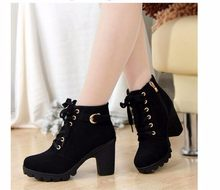 2018 New Autumn Winter Women Boots High Quality Solid Lace-up European Ladies shoes PU Fashion high heels Boots 35-41(China)