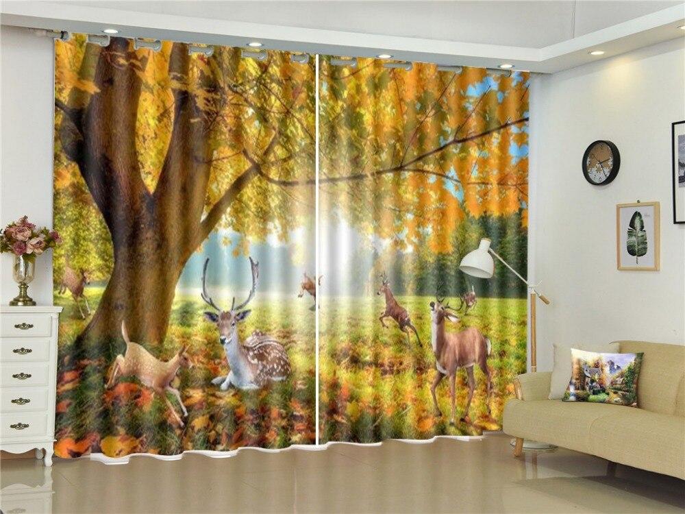 Un groupe de cerf Sika jouant heureux dans la forêt rêveuse 3D paysage rideaux chambre beau rideau occultant pratique