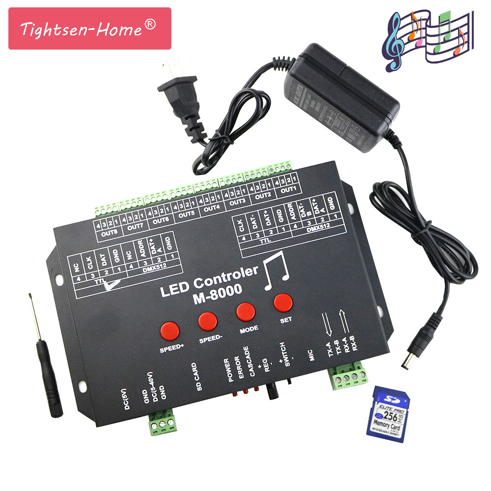 M 8000 PROGRABLE 8096PIXEL MUSIC LED CONTROLLER FOR WS2812B WS2801 SK6812 LIGHT ROPE TAPE STRIP MODULE Dream Color Strip bar