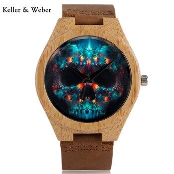 ac87f33f KW креативные уникальные часы Хэллоуин Череп деревянные часы мужские  таинственный Стиль кварцевые наручные часы из натуральной кожи часы п.