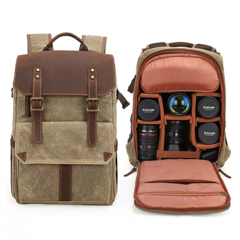Large Outdoor Cushions | M301 Waterproof Batik Canvas Camera Photo Bag Large Capacity Outdoor Photography Backpack Digital Padded SLR Bag Tripod Holder
