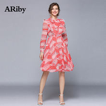 купить ARiby Women Dress 2019 Spring Summer New Fashion Long Sleeve Dot Patchwork Printed Elastic Waist Slim A-Line Knee-Length Dress по цене 1530.58 рублей