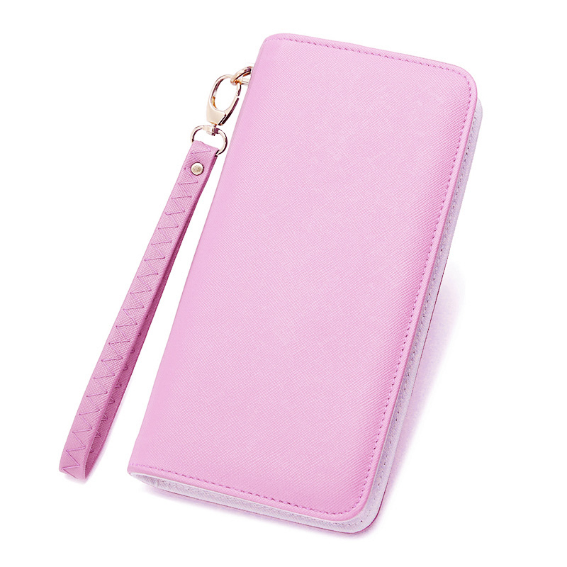 2018 Fashion Women Wallets Candy Colors Leather Womens Wallets and Purses Girl Long Wallet With Wrist Strap Women Card Holder