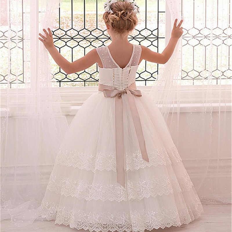 Новые платья для первого причастия для девочек бальное платье без рукавов с аппликацией из кружева и тюля, Платья с цветочным узором для девочек на свадьбу с поясом