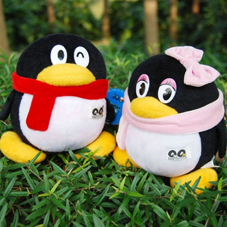 ФОТО Lovely qq penguin doll a pair QQ toys QQ girl and QQ boy about 50cm big dolls