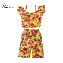 2PCS Toddler Kids Girls Flower Crop Tops Harlem Pants Trousers Baby Clothing Summer Beach Outfits Set 1-6T new