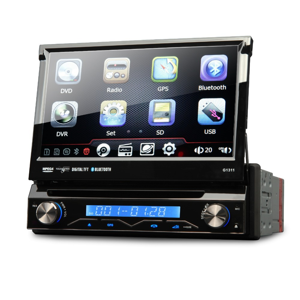 7 1 din car dvd gps player single din car stereo gps navigation with dvd radio usb sd bluetooth. Black Bedroom Furniture Sets. Home Design Ideas