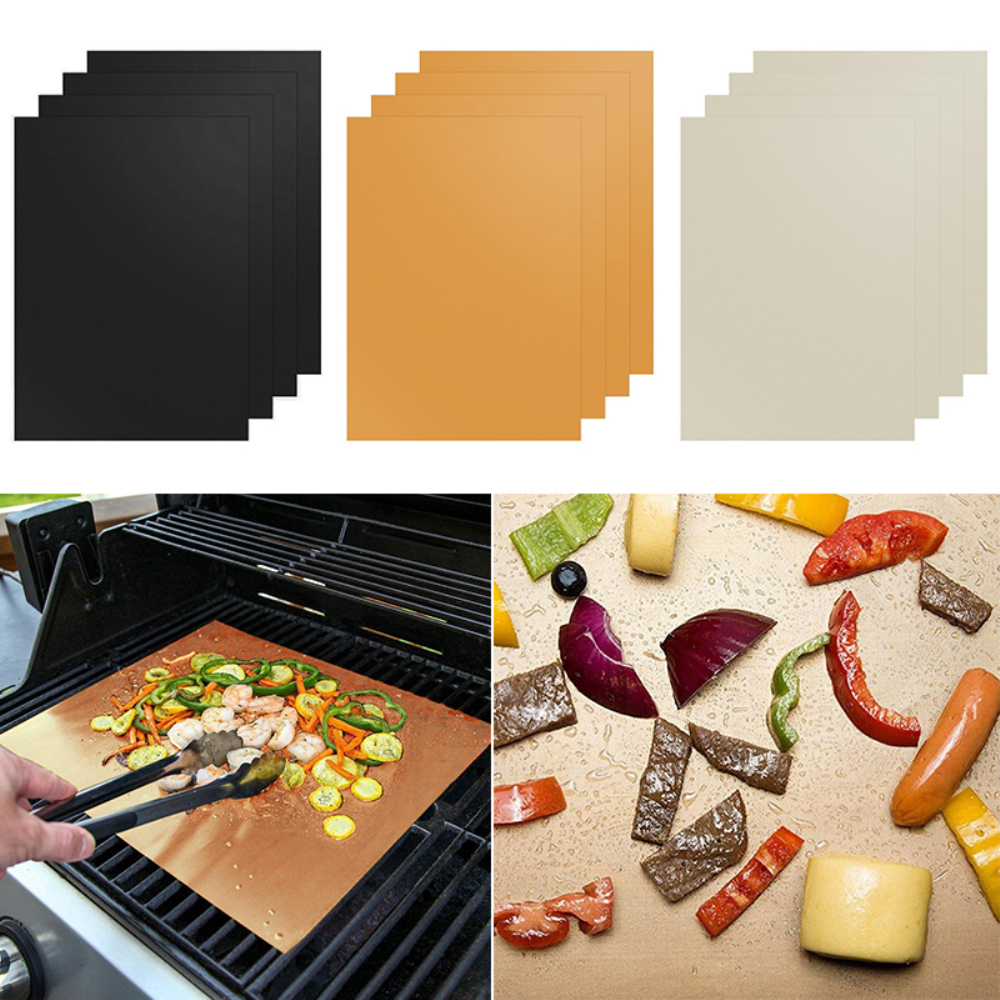 4PCs / Set 40 X33 Cm PTFE Heat Resisting Barbecue Pad Teflon Grill Custion Nonstick Grilling Mat BBQ Tool Reusable Outdoor