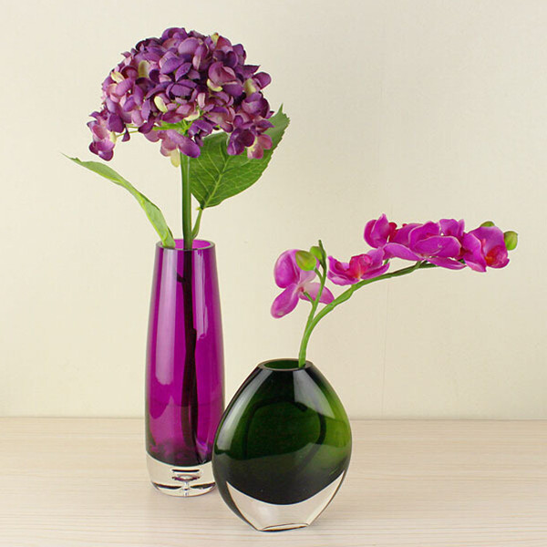Simple Modern Dark Green And Purple Glass Vase Fashion Home Living