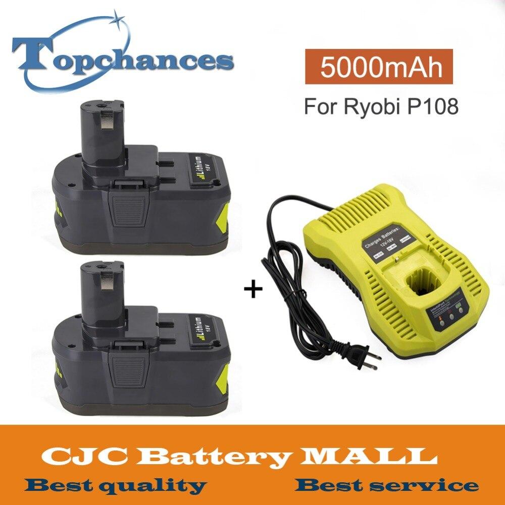 2x высокое Ёмкость 18 В 5000 мАч литий ионный Перезаряжаемые Батарея для Ryobi P108 P107 P104 RB18L40 для одного + с 12 18 В P117 Зарядное устройство