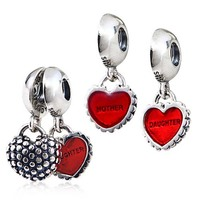 Original 100% Authentic 925 Sterling Silver Mother & Daughter Charm Heart Dangle Beads fit for Bracelets and Necklaces