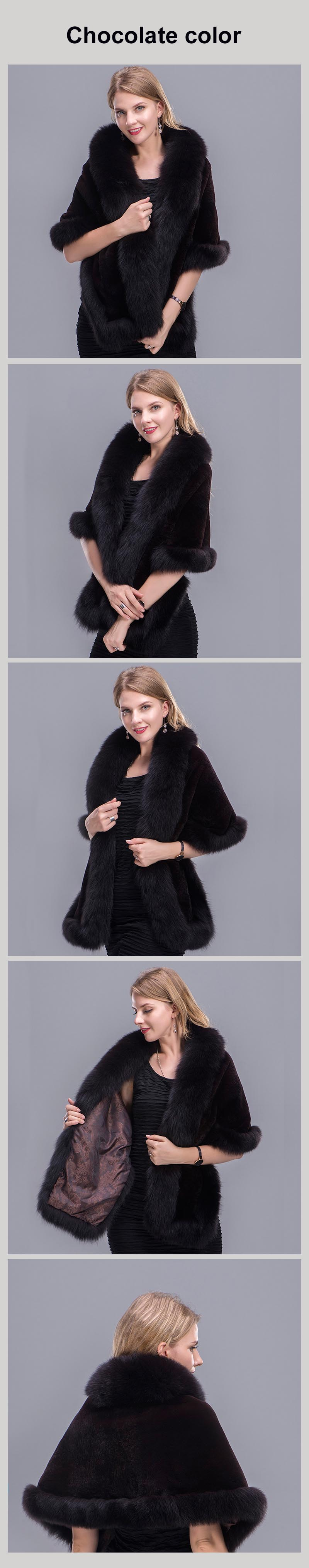 real fur shawl chocolate 00