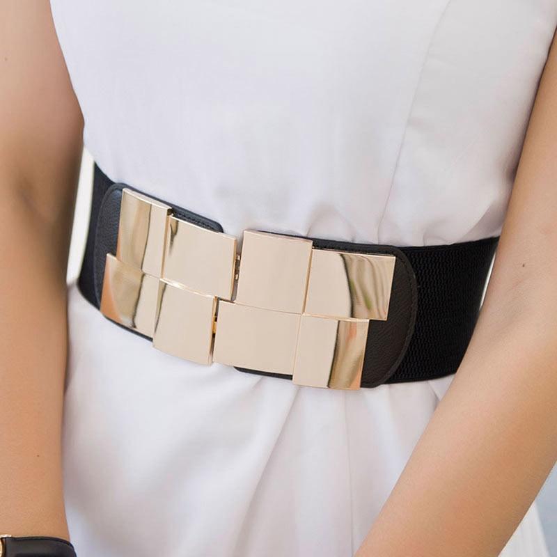 New Women Elastic Waist Closure Wide Belt Gold Square Buckle Dress Decorative Belt Female Self - Cultivation Elastic Band Girdle