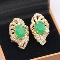 Amazing Gorgeous Natural Green AAA Cubic Zirconia Charm Gold Plated Earring For Party Fashion Women Jewelry