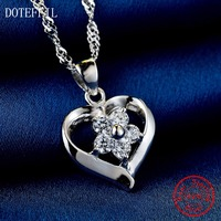 Hot Sales 925 Sterling Silver Women Necklace Fashion Heart Pendant Silver Flowers Necklace Charm Jewelry