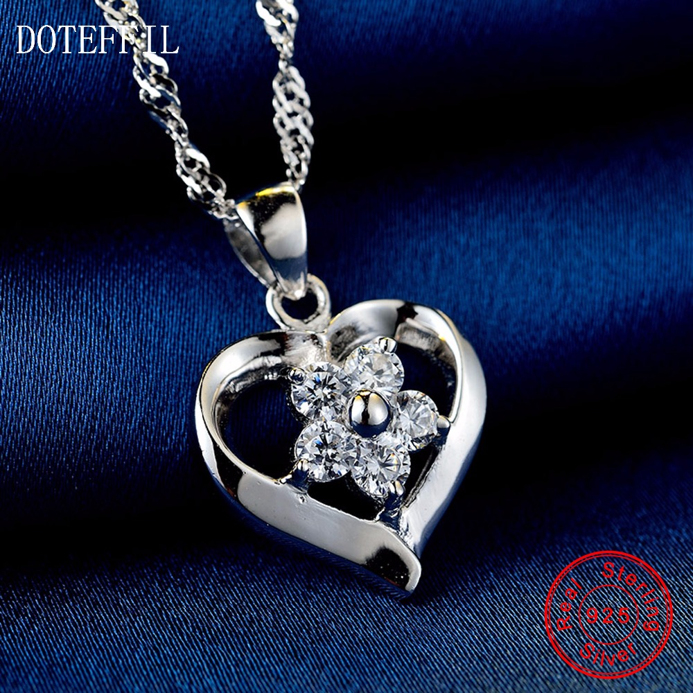 Hot Sales 925 Sterling Silver Women Necklace Fashion Heart Pendant Silver Flowers Necklace Charm JewelryHot Sales 925 Sterling Silver Women Necklace Fashion Heart Pendant Silver Flowers Necklace Charm Jewelry