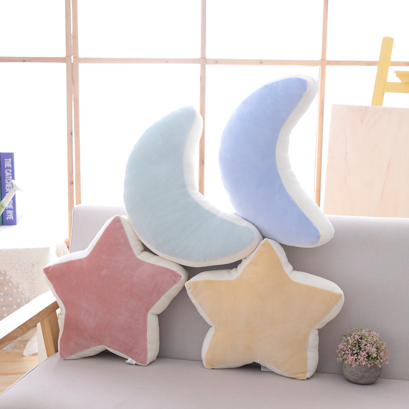 Cilected Star Moon Pillow Ins Fashion Short Plush Toys Living Room Bedroom Sofa Cushion Office Napping Pillow Home Decor