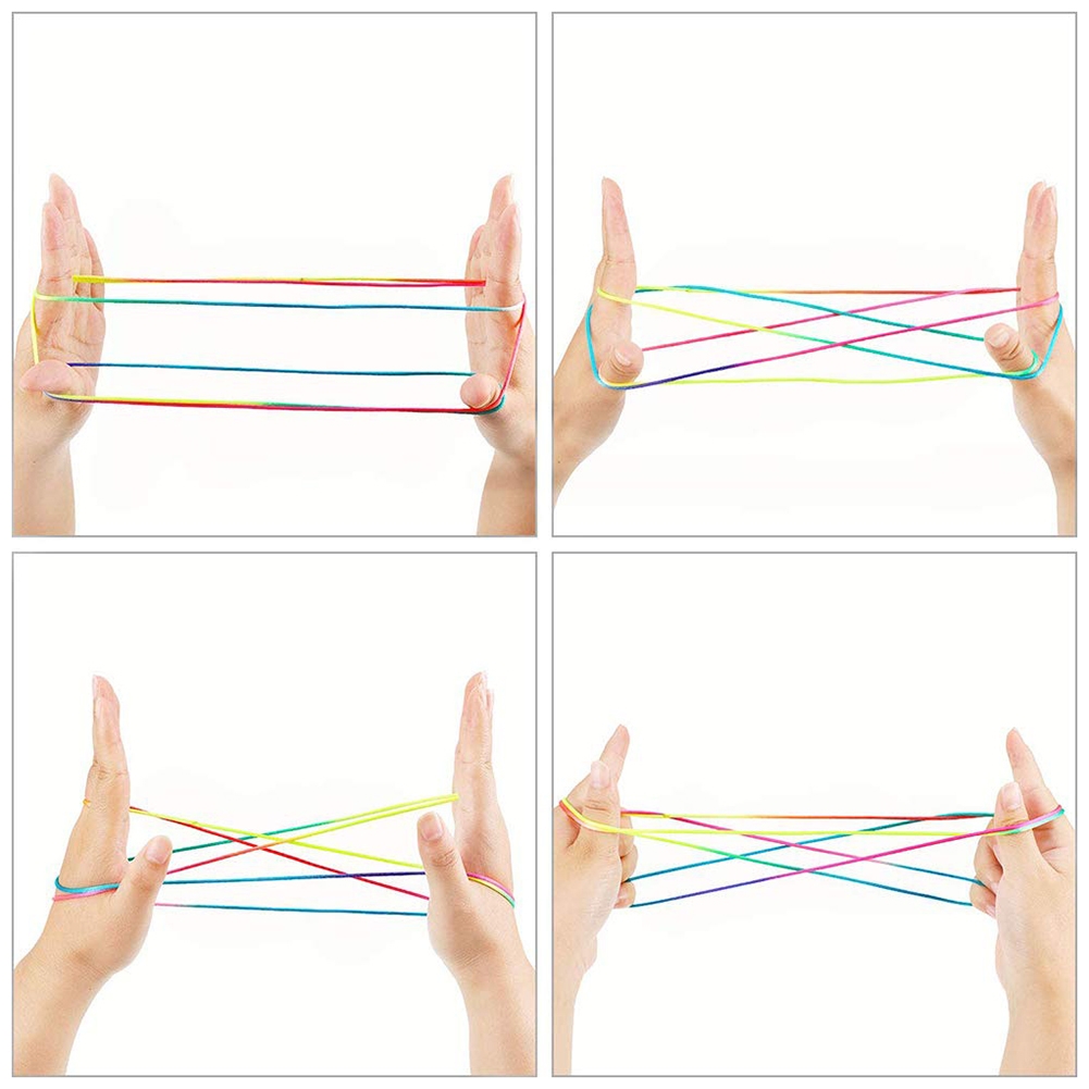Rainbow Rope Kids Toys Colour Fumble Finger Thread Rope String Game Developmental Puzzle Toys Figures Board Game For Team Play