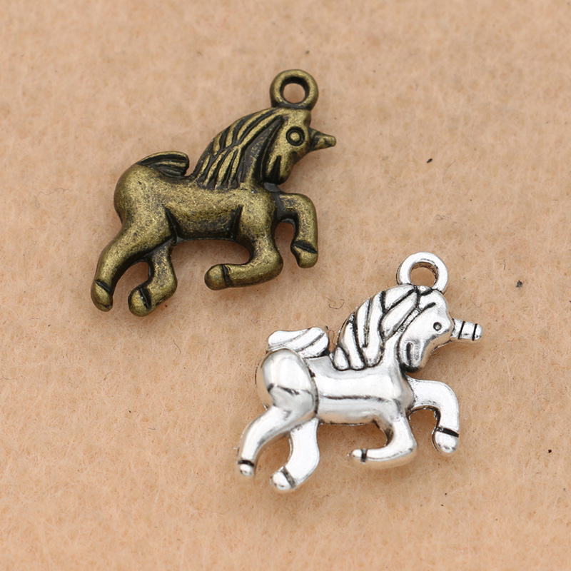 10pcs Antique Bronze Plated Unicorn Charms Pendants Jewelry Diy Jewelry Findings Handmade 17x15mm Selling Well All Over The World