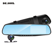 лучшая цена PARASOLANT Car DVR Camera Rearview Mirror Auto Dvr Dual Lens Dash Cam Recorder Video Registrator Camcorder Full HD 1080p G sens