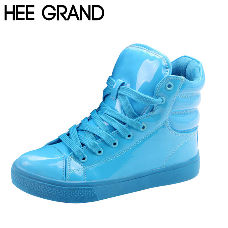 HEE GRAND Casual Shoes Woman Lighted Candy Color High-top Shoes Woman Fashion Shoes Flat Platform Student Shoes XWB001 женские кеды adv nce outlets 2015 usb zapatos led lighted shoes