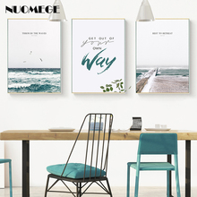 Nordic Style Landscape Poster Sea Wall Art Prints Beach Canvas Painting Motto Decoration Picture for Living Room Home Decor