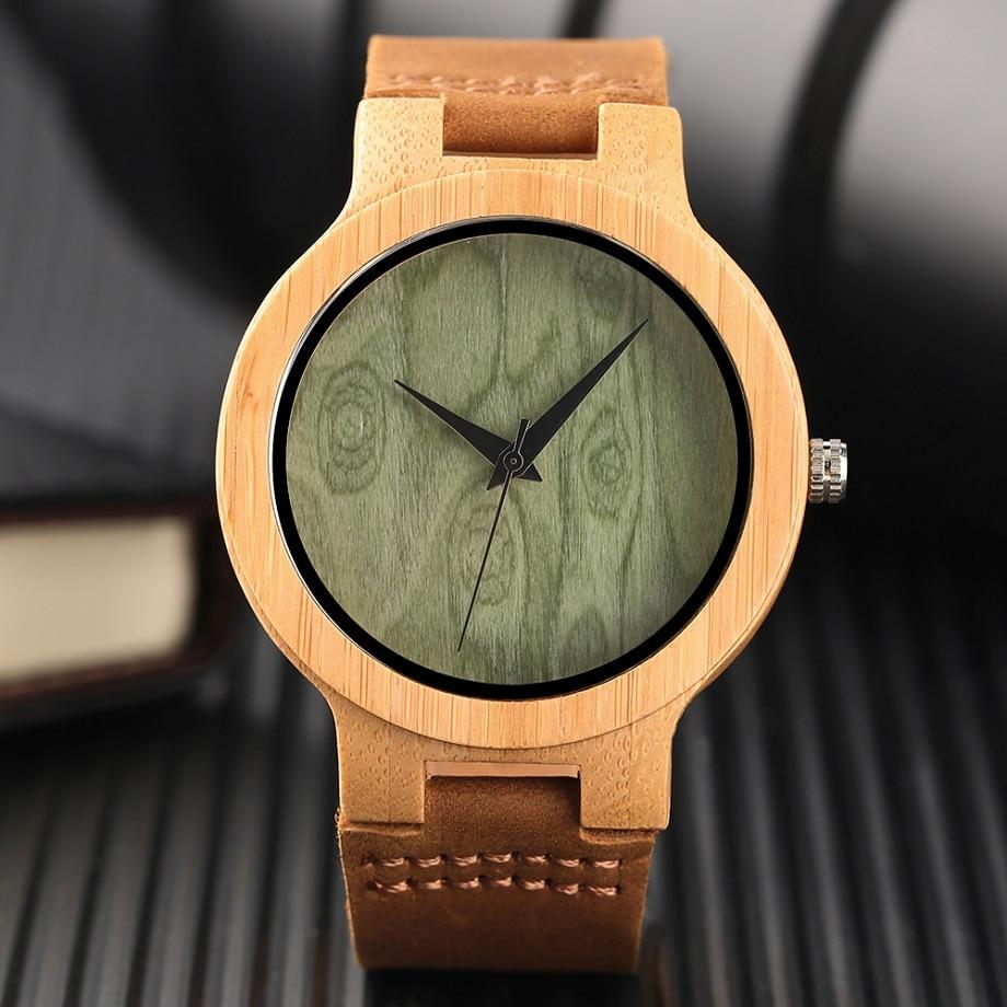 Fashion Wood Kellad Quartz meestele Naistele Ehtne Nahk Watchband - Meeste käekellad - Foto 5