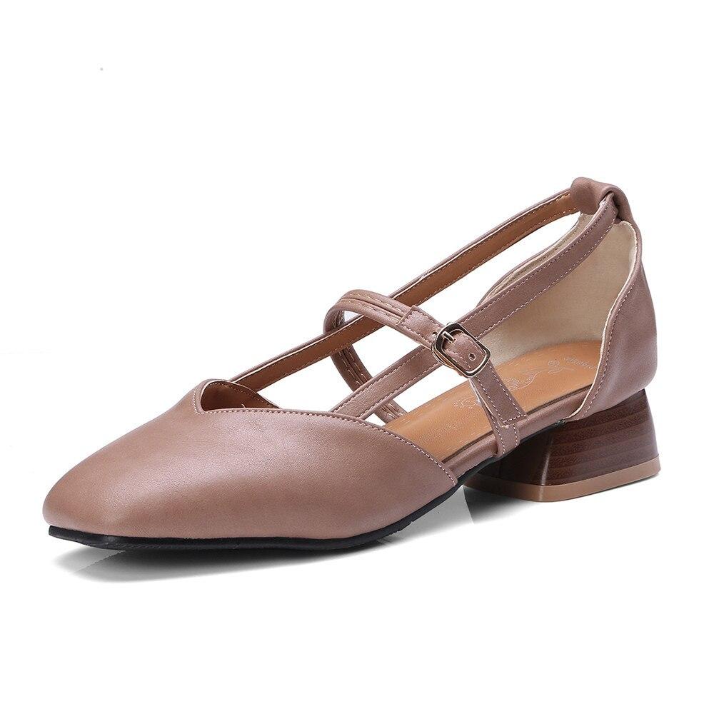 apricot Talon 2018 Nouvelle Femmes Femme marron Pompes Confortable Carré Grande Taille Boucle brown 46 Chaussures Morazora Mode Arrivée Simple Noir 33 Lady De SBxTd4w