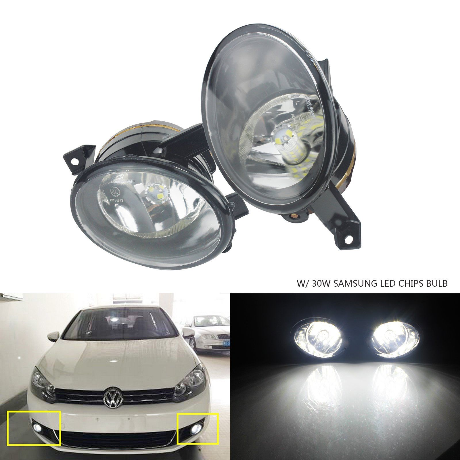ANGRONG 2 x Front Fog light Lamp W 30W SAMSUNG LED Bulbs L R For VW