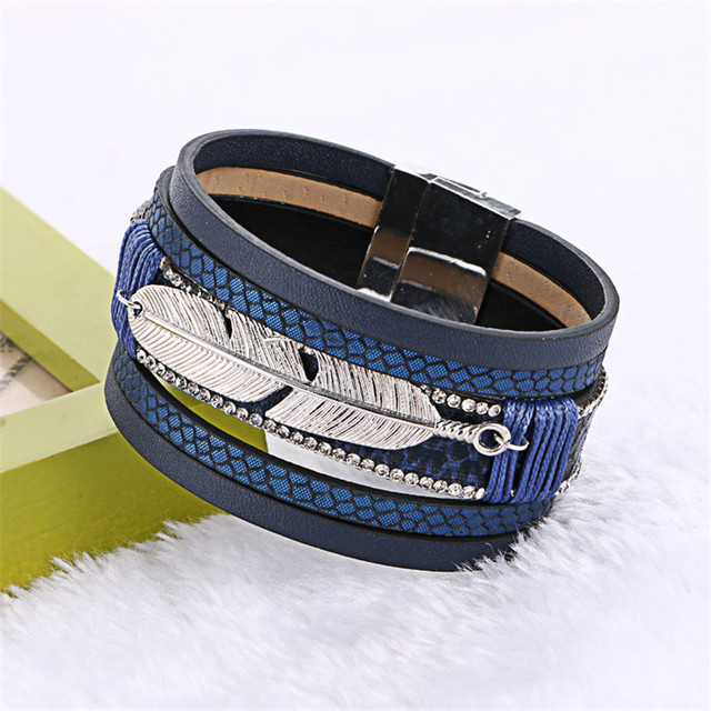 2016 Women Fashion Handmade Alloy Feather Leaves Multilayer Wide Magnetic Leathe