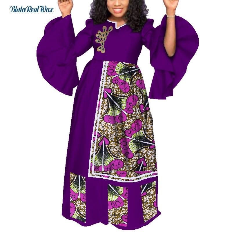 Bazin Riche Lange Party Abendkleider Frauen Afrikanische Rüschen Hülse Kleider für Frauen Afrikanische Kleidung Drucken Blatt Kleider WY3985 - 3