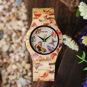 Image 2 - BOBO BIRD O20 فراشة طباعة النساء الساعات جميع الخيزران صنع كوارتز ساعة اليد للسيدات في علبة هدايا خشبية