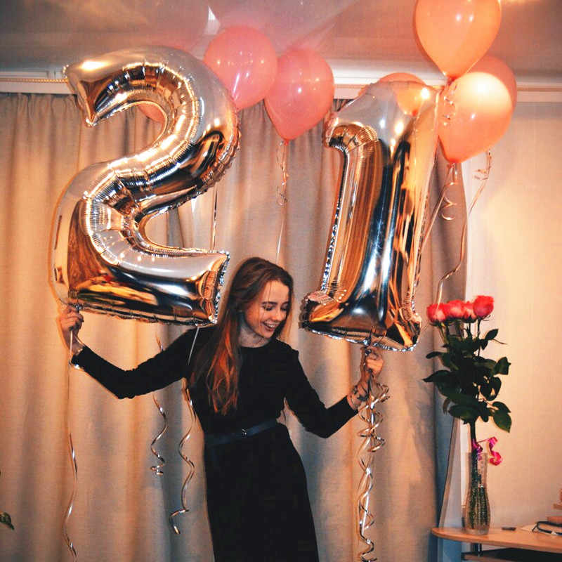 40 Polegada rosa ouro prata número da folha balões dígitos inflável bolas de ar feliz aniversário decorações de casamento evento festa suprimentos
