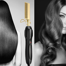 Pro 2 in 1 Hair Straightener & Curler Combs Ceramic Tourmaline Hair Straightening Curling Flat Iron Fast Heated Styling Brushes недорого
