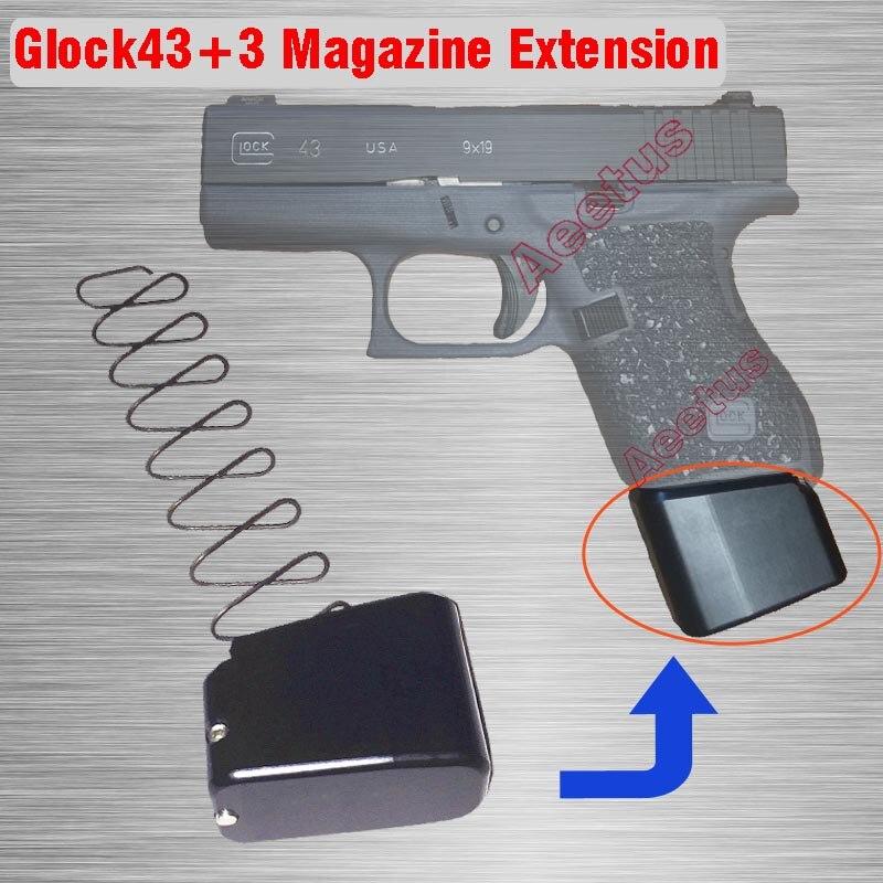 New CNC Machined Magazines Base Pad for Glock 43 +3 Magazine Extension Glock 43 Plus 3 Free ShippingNew CNC Machined Magazines Base Pad for Glock 43 +3 Magazine Extension Glock 43 Plus 3 Free Shipping