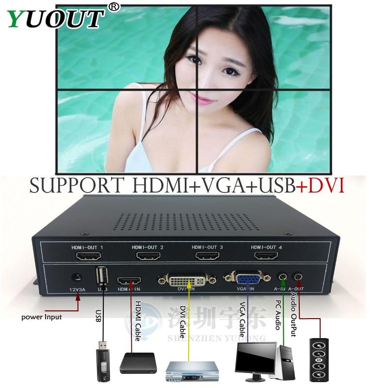 Tragbares Audio & Video Desktop Digitaler Musik-player Dynamisch 1x2 Videowand-prozessor Für Videowand Zeigt Hdmi Dvi Vga Usb-eingang Hdmi-ausgang
