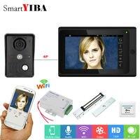Smartyiba проводной/Беспроводной Wi Fi видео телефон двери Дверные звонки домофон Системы с 7 дюймов Мониторы Экран с блокировкой двери