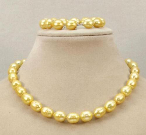 10-13mm AAA south sea baroque gold pearl necklace bracelet 10-13mm AAA south sea baroque gold pearl necklace bracelet