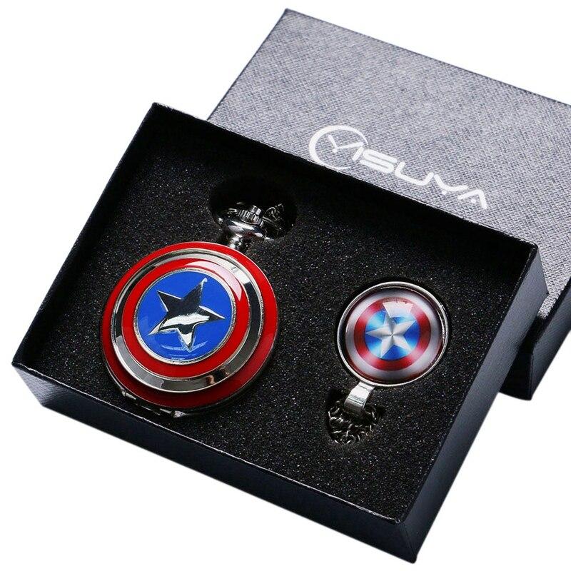 Captain America Avengers Shield Star Quartz Pocket Watch Necklace Fob Chain Gift Set For Men Women Children Chirstmas Gifts