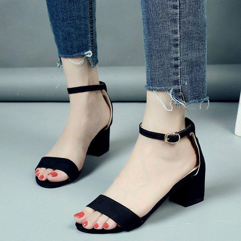 2018 Летние женские сандалии с открытым носком Сланцы Для женщин сандалии Женская обувь на широком каблуке корейский стиль гладиатор Обувь 1216 Вт