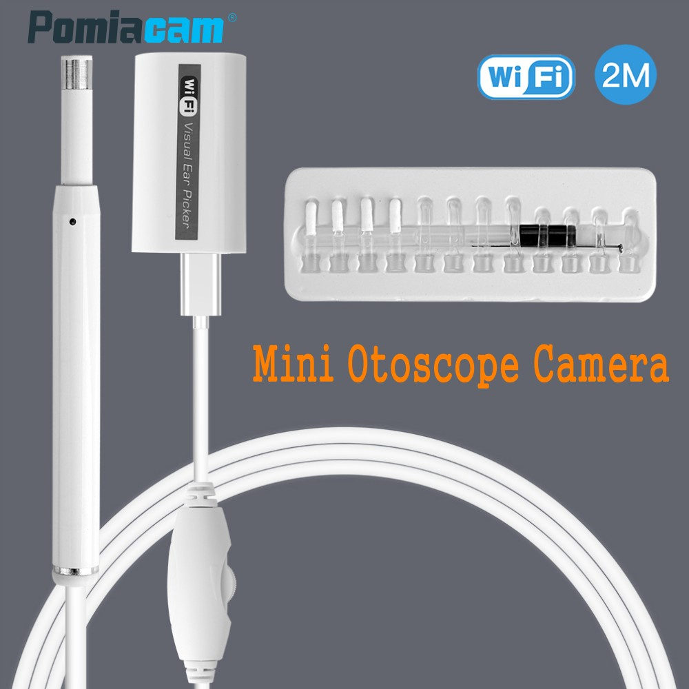 F170 5.5mm Lens Wireless WIFI Ear Endoscope Otoscope Camera HD 720P Visual Ear Cleaner Spoon Borescope Support PC Android IOS 720p wireless wifi ear cleaning endoscope 2m hd visual ear spoon inspection otoscope camera ear health care android pc ios f170