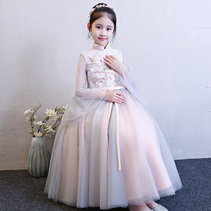 Hot-Sale Elegant Children Girls Flowers Princess Birthday Evening Party Ball Gown Mesh Dress Kids Luxury Piano Performance Dress