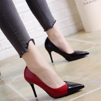 2018 Women Pumps OL Fashion Spell Color High heels Single Shoes Female Spring Summer Patent leather Wedding Party shoes Woman 1
