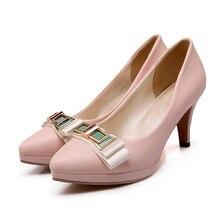 ARMOIRE Brand New Hot Elegant Beige Pink Women Platform Pumps Ladies High Heels Bowtie Shoes AHX716 Plus Big Size 32 10 43