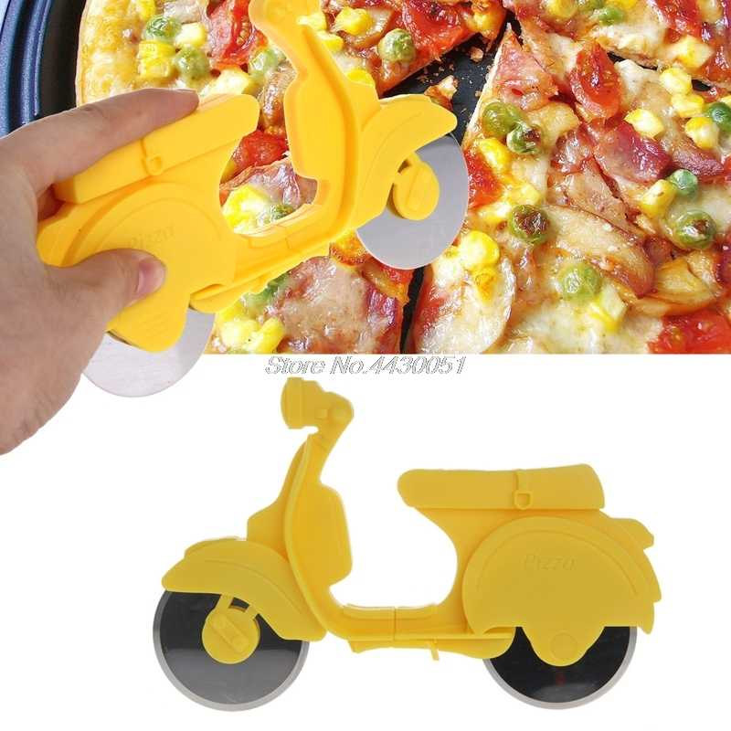 Sepeda Motor Chopper Pemotong Pizza Stainless Steel Dual Roda Slicer Non-Stick