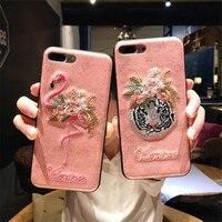 Bordado 3D Flamingo Phone Cases para iPhone X Caso Híbrido de Silicone Macio Funda Capa para o iphone 8 8 Mais 7 7 mais 6 6 s 6 Mais cobrir