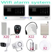 2PCS G90B plus Panel GSM WIFI alarm system APP controlled security alarm with surveillance outdoor wireless IR IP camera